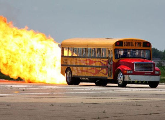 Watch a School Bus Go 367 MPH On Fiery Rocket Power