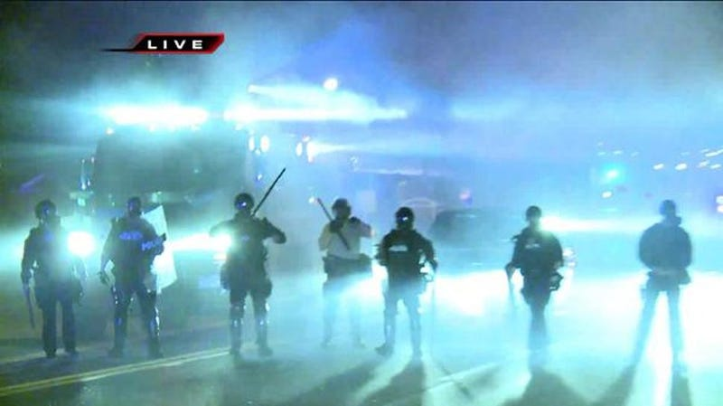 Police Fire Rubber Bullets and Tear Gas on Ferguson, Mo. Protestors