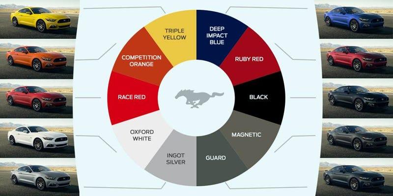 Mustang color menu