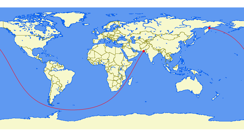 The longest straight line you can sail on Earth reaches from…