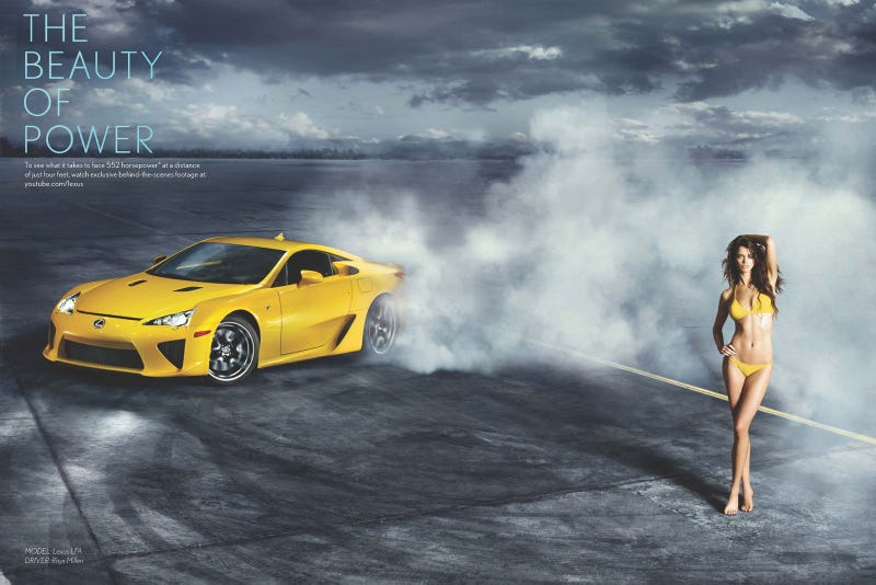 Boobs and expensive supercars! Lexus LFA drifts around Sports Illustrated swimsuit model