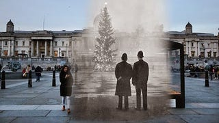 Christmas in the past and in the present in the same picture