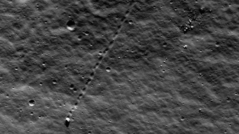 50 million years ago, this boulder rolled across the moon's surface
