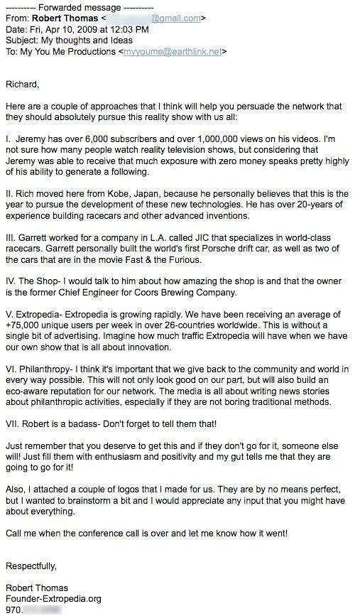 Emails Between Richard Heene and Robert Thomas