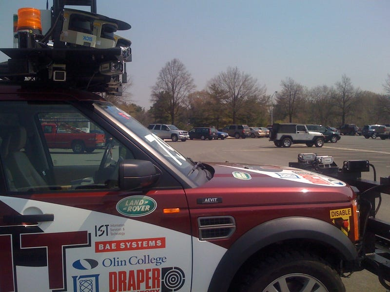 DARPA Urban Challenge Cars Invading Pentagon Parking Lot