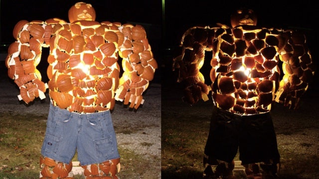 The Thing from The Fantastic Four made out of pumpkins is sort of genius