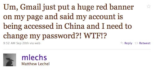 Google Warning Gmail Users: China Spied on Your Account