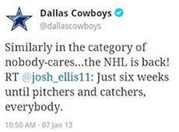 The Cowboys Took A Swipe At The NHL On Twitter, But The Dallas Stars (Eventually) Gave It Right Back