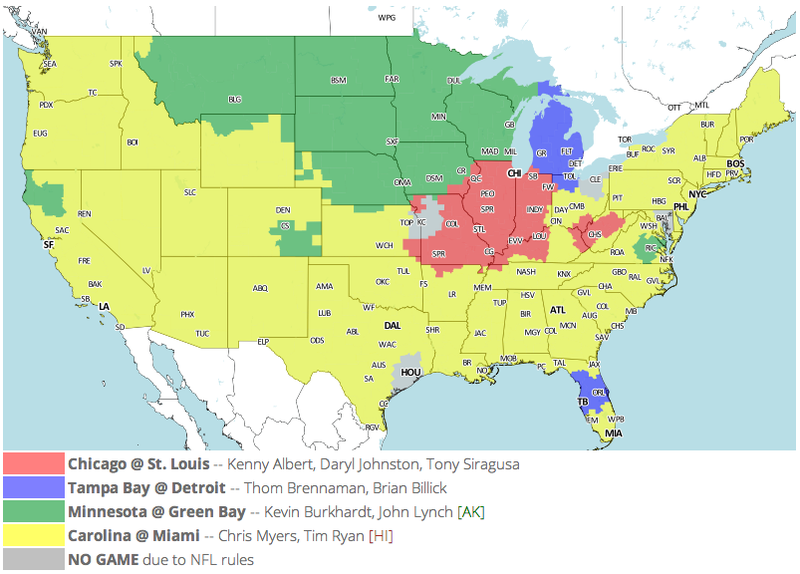 Which TV Market's Getting Screwed Today? Your Week 12 NFL Viewing Maps