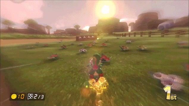 Mario Kart 8's Yoshi, On A Yoshi Bike, In Yoshi's Valley