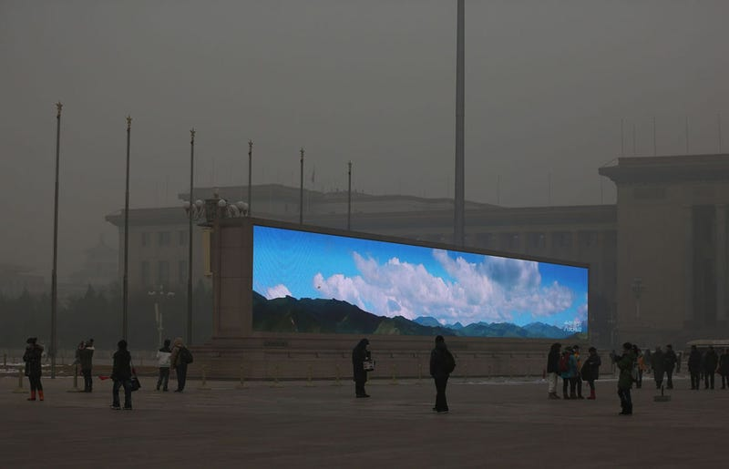 Blue skies in China can only appear on screens because of the smog