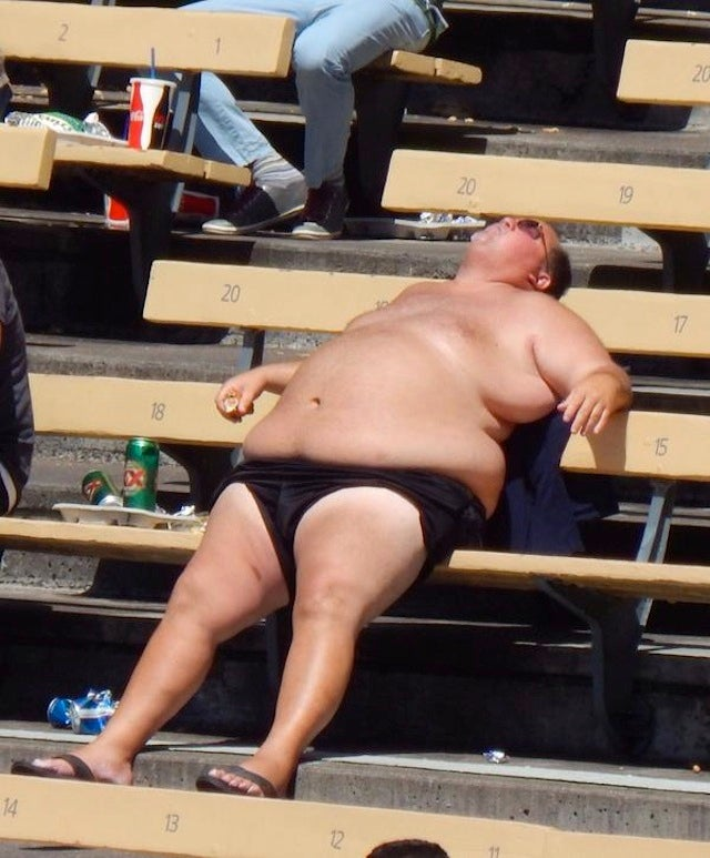 Large, Half-Naked Dodgers Fan Is Living The Motherfucking Dream