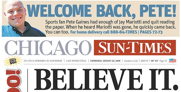 The Chicago Sun-Times Won't Even Attempt To Contain Its Excitement