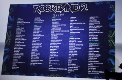 "Official Rock Band 2 Track List (Plus Carry Over ""Most"" of Rock Band's Disc Tracks!)"