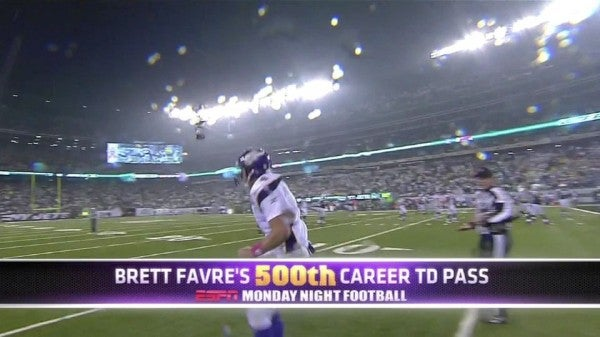 Last Night's Winner: The Guy At ESPN Who Decided This Brett Favre Graphic Was A Good Idea