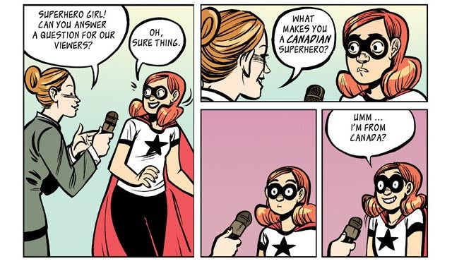 Superhero Girl Faces Her Most Dastardly Foe: Canadian Stereotypes