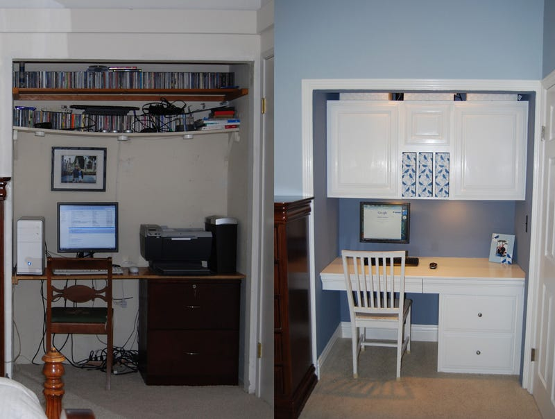 White and Blue: An Office-in-a-Closet Makeover