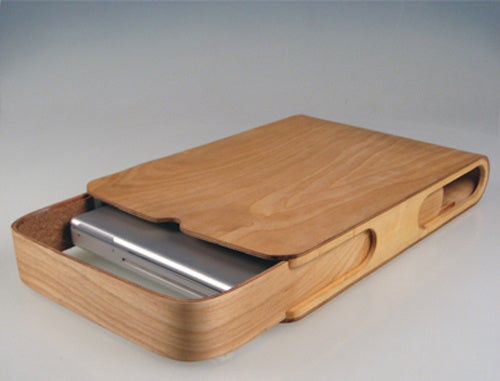 Plywood and Cork Laptop Case Slides To Stow