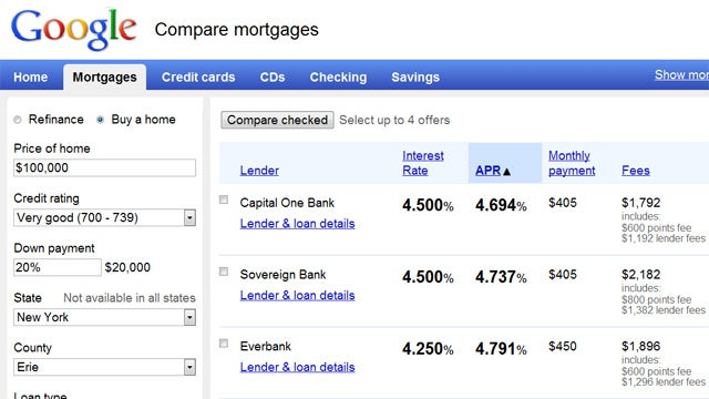 Compare Mortgages, Credit Cards, and Other Finance Options Through Google