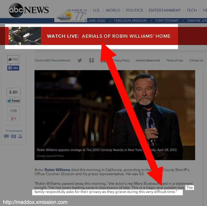 ABC Offers Live Aerial Footage of Robin Williams' Home Because Why?