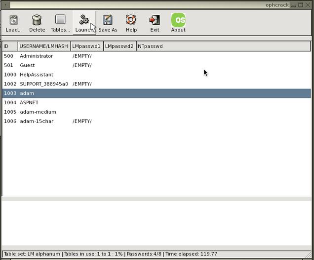 Скриншот Тур: Как взломать пароль Windows, с Ophcrack Live CD.