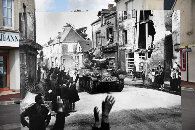 15 Incredible Photo Composites Match Up Normandy on D-Day and Today