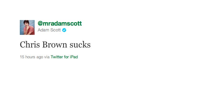 Adam Scott Perfectly Sums Up Our Feelings on Chris Brown