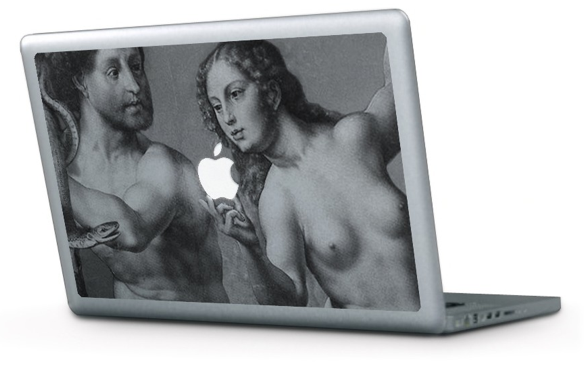 Adam And Eve Macbook Decal Turns the Apple Logo Into the Forbidden Fruit