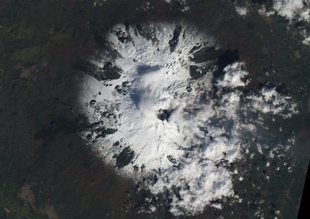 Why Does This Image of the Mount Etna Volcano Eruption from Space Look So Weird?