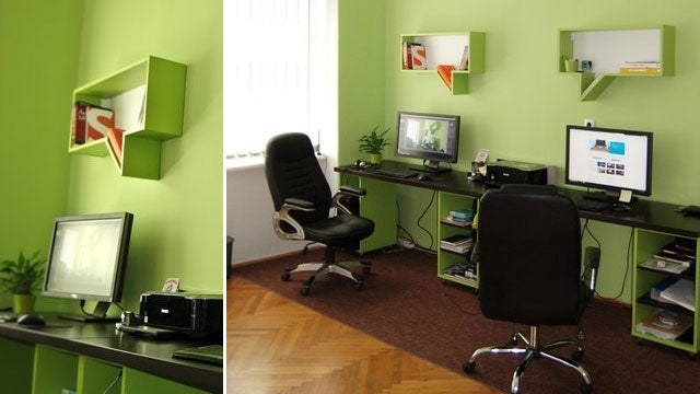 A Green Office with Talkative Shelves