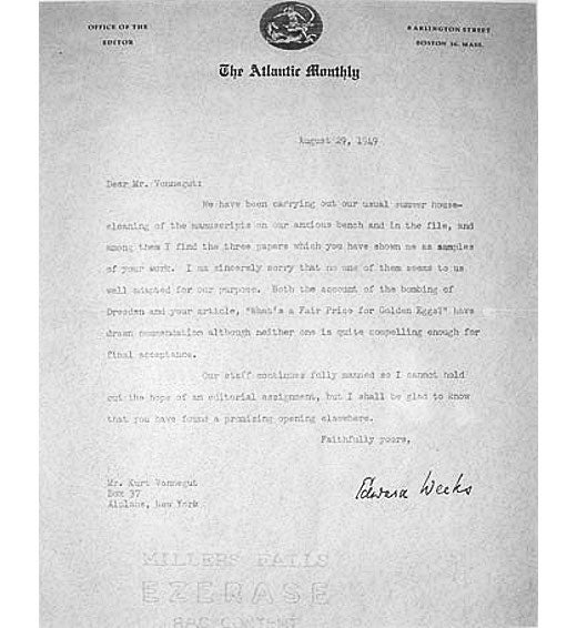 Read the rejection letter Kurt Vonnegut received for his account of the Dresden bombing