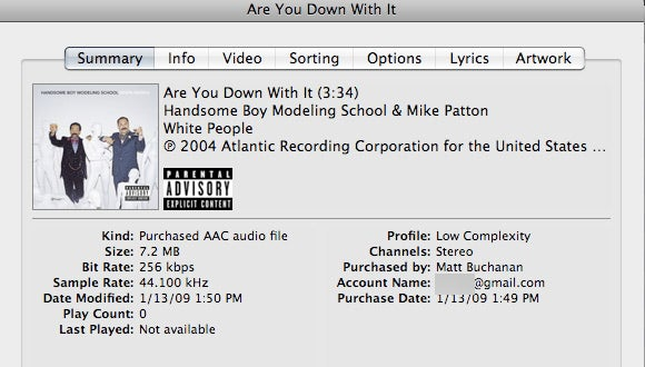 Yep, iTunes Embeds Your Email Address in DRM-Free Tracks, Move Along