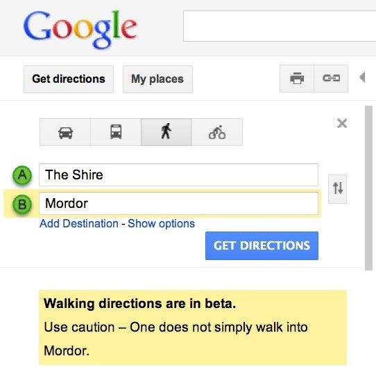 Lord of the Rings Google Easter Egg Warns You About Mordor