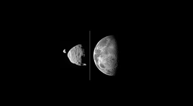 The first video ever taken from Mars of one moon eclipsing the other