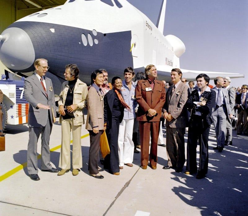 The Star Trek Enterprise Crew Saluting the Real Enterprise