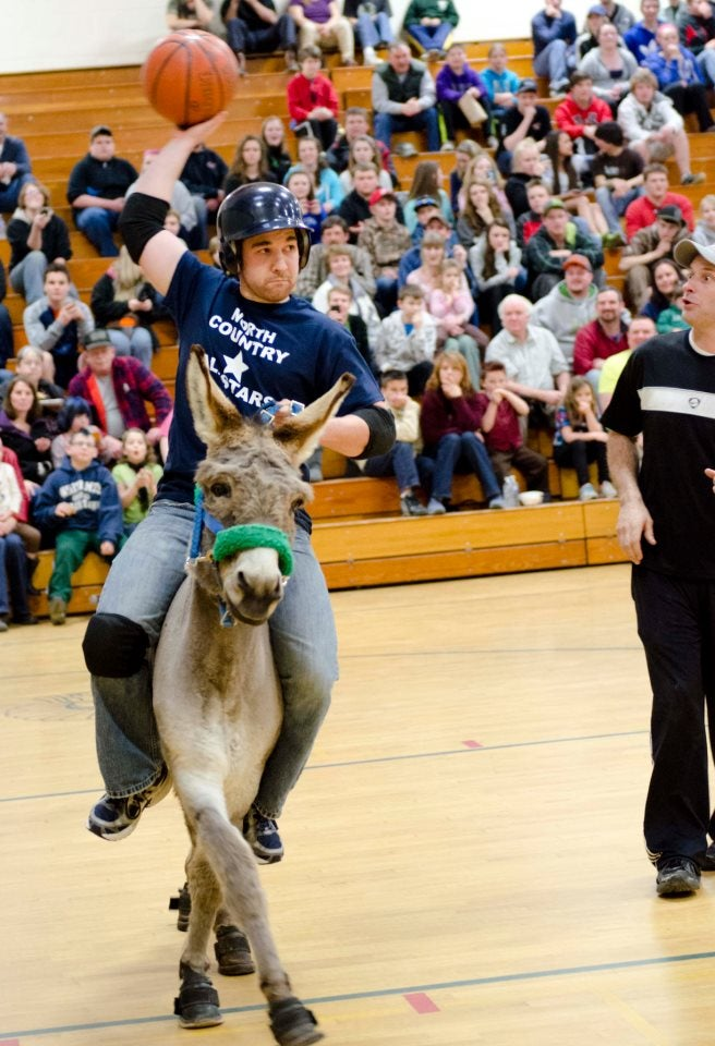 Sorta Photogenic Man Plays Basketball On Ridiculously Photogenic Donkey