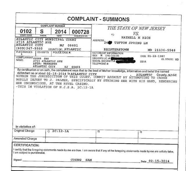 Police Summons: Ray Rice Knocked Fiancée Out