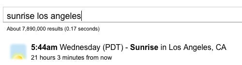 Use Google to Find the Time of Sunrise and Sunset