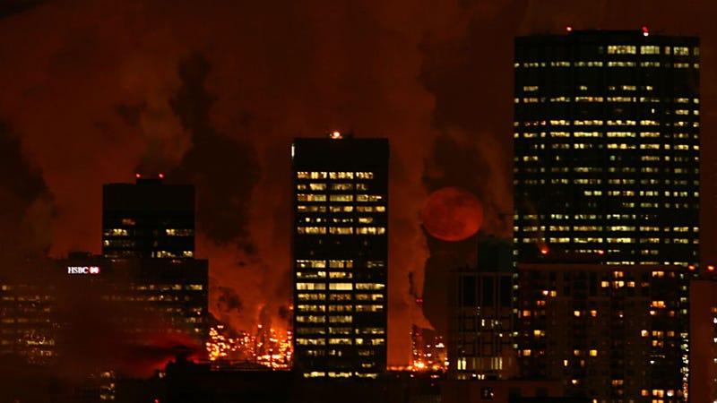 Red Moon Over Edmonton
