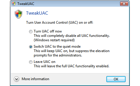 Disable Vista's User Account Control with TweakUAC