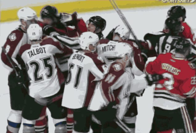 Official Punched In Face During Scuffle In Avalanche-Blackhawks Game