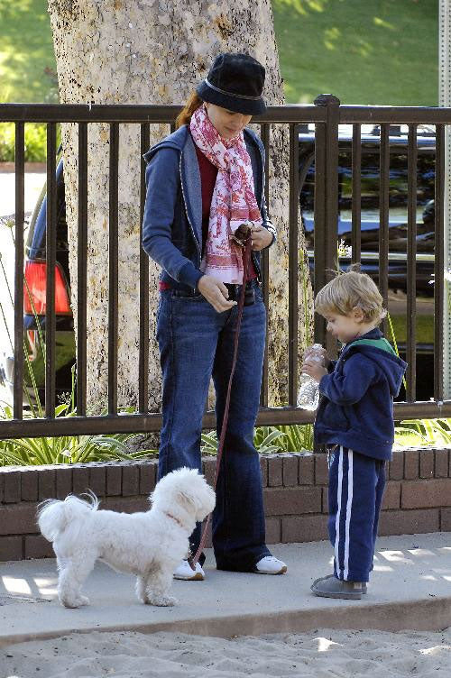 Debra Messing's Little Dude Plays With Snowball In Summer