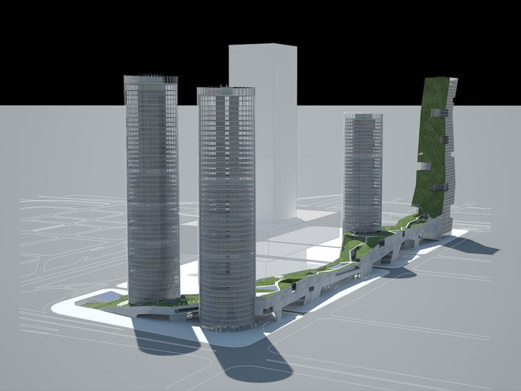 """Four """"Tropical Skyscapers"""" Commissioned To Keep Shenzhen Stock Exchange HQ Nice and Shady"""