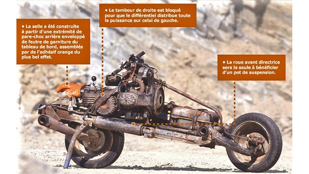 Real-Life Tony Stark Turns His Broken Down Car Into a Motorcycle To Escape the Desert (Updated)