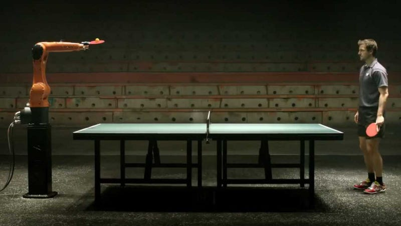 Ping pong match between robot and human looks faked