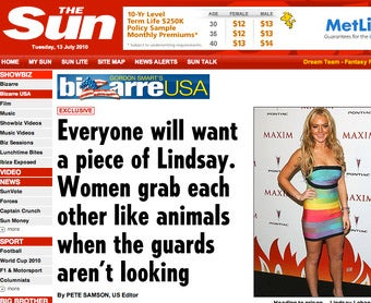 Lindsay Lohan Prison Rape Articles: The Grotesque Inevitability Arrives