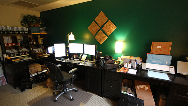 The Long, Green Creative Person's Workspace