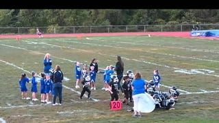 Mighty Mite Football Players Thwarted By Banner