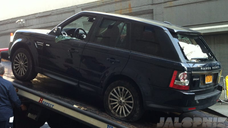 This Is Alexian Lien's Range Rover After It Was Attacked By Bikers