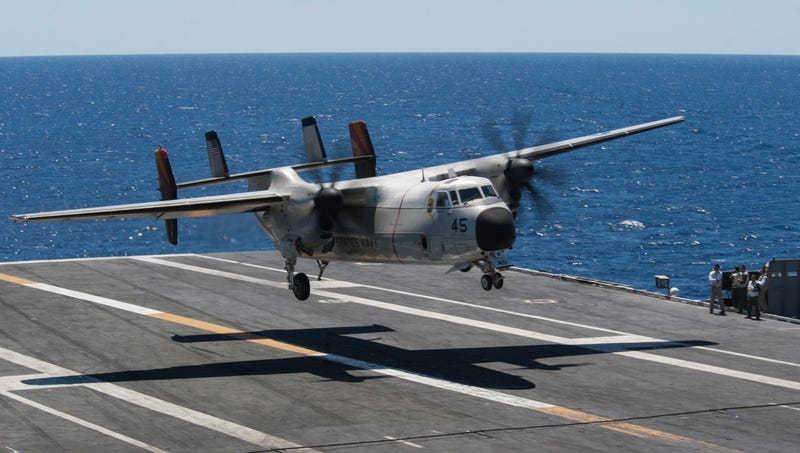 C-2A Greyhound Lands and Parks Aboard USS Truman
